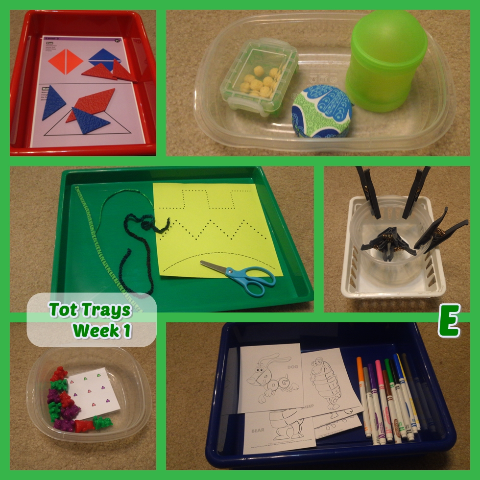 Our first fun set of tot trays and toddler activities!